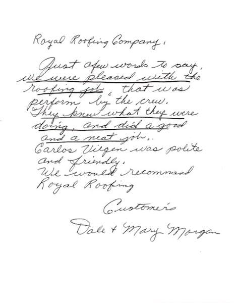 Royal Roofing Testimonial Letter